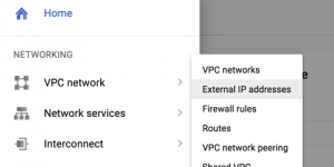 Google Cloud Platform external IP address console menu item