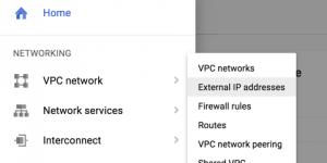 Google Cloud Platform external IP address console menu item