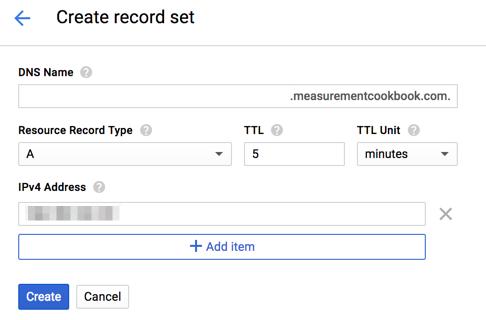 Google Cloud Platform Cloud DNS create record set