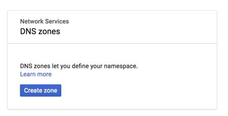 Google Cloud Platform Cloud DNS create zone