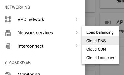 Google Cloud Platform menu Networking Cloud DNS