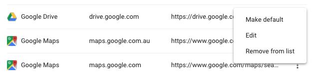 Google Chrome > Manage Search Engines > Edit menu