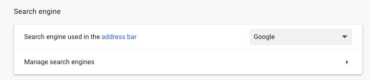 Google Chrome > Settings > Manage Search Settings